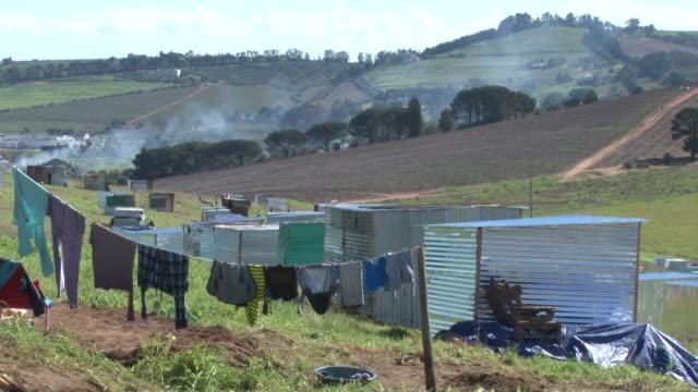 over 400 shacks have been built on privately owned land which forms part of a wine farm in stellenbosch in the western cape - stellenbosch stock videos and b-roll footage