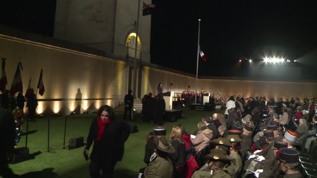 stockvideo's en b-roll-footage met over 4,000 people attend the dawn service in the northern french town of villers bretonneux on anzac day to commemorate the australian and new... - dawn french