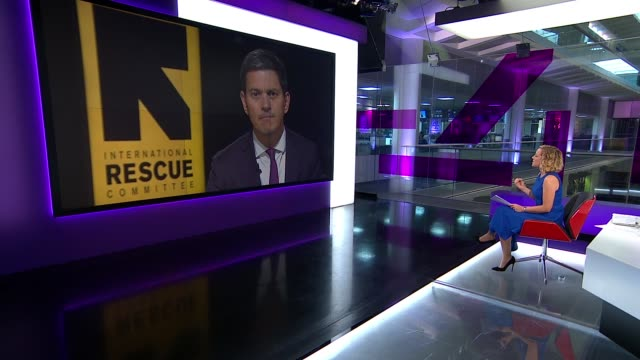 stockvideo's en b-roll-footage met over 400,000 rohingya muslims seek safety in bangladesh; david miliband live interveiw resumes sot interview interrupted again - channel 4 news
