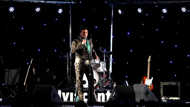 over 80 of europe's top elvis tribute acts battle to become crowned king at the european elvis championships an annual event held annually around the... - tribute event stock videos & royalty-free footage