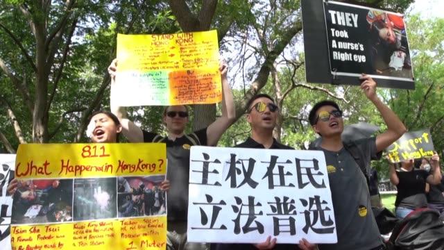 Over a hundred people gather in support of the ongoing proDemocracy demonstrations in Hong Kong at Lafayette Square outside the White House in...