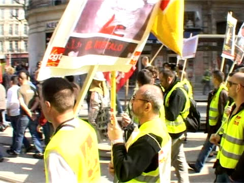 over a million civil servants joined by private sector workers took to the streets of france on thursday in a nationwide strike aimed at making... - president of france stock videos & royalty-free footage