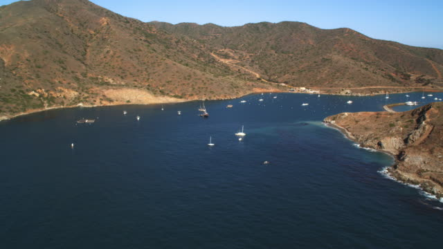 Over boats in a harbor on Santa Catalina