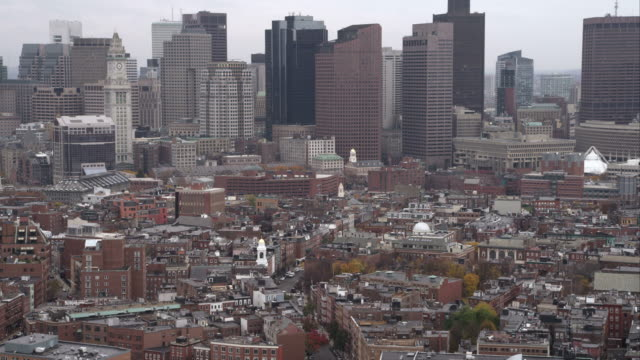 over boston's north end; old north church comes into view at right. shot in november 2011. - old north church stock videos & royalty-free footage