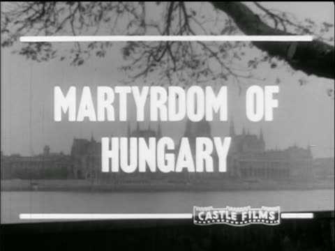 superimposed over buildings martyrdom of hungary - ungarn stock-videos und b-roll-filmmaterial