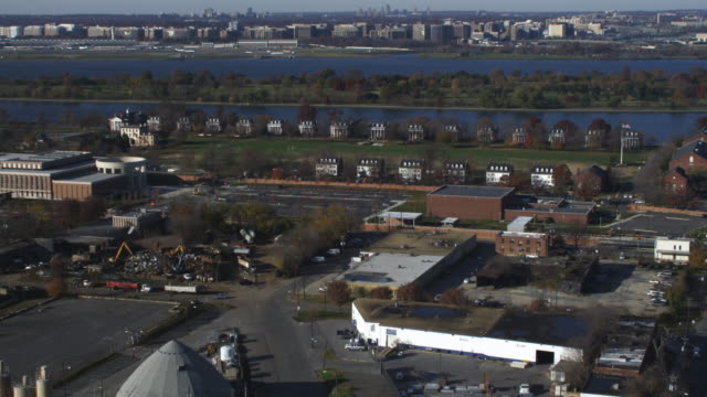 over buzzard point, approaching fort lesley j. mcnair;national defense university's lincoln hall at left of frame, officers' quarters along river in background. shot in 2011. - fortress stock videos & royalty-free footage