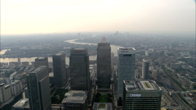 Over Canary Wharf  - Aerial View - England, Greater London, Tower Hamlets, United Kingdom