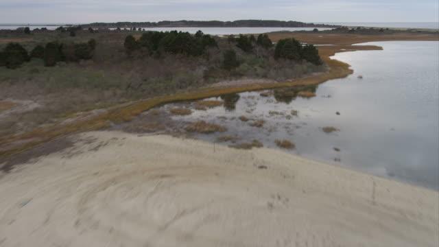 Over Cape Poge Bay, approaching Shear Pen Pond, Massachusetts. Shot in November 2011.