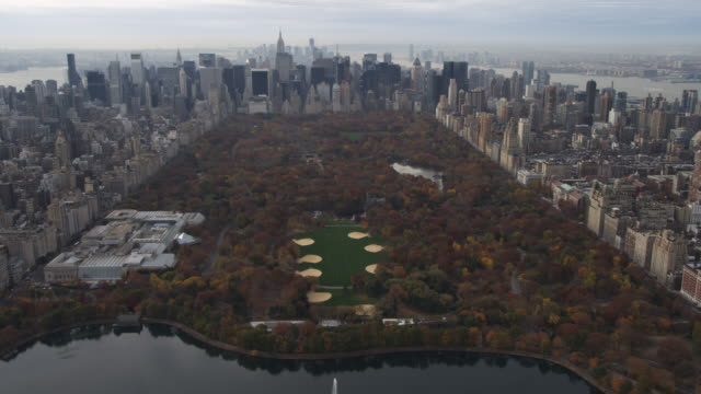 over central park, looking toward midtown and lower manhattan. shot in 2011. - artbeats 個影片檔及 b 捲影像