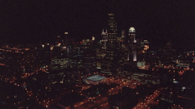 AERIAL over Chicago at night