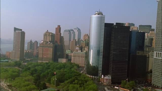 aerial over city hall park in downtown manhattan / new york city - 2002 stock videos & royalty-free footage