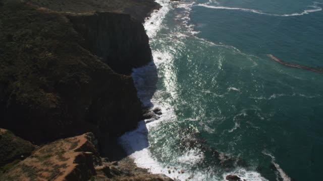 over cliffs on the coast of santa catalina - artbeats stock videos & royalty-free footage