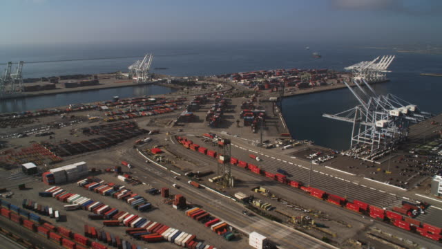 over container terminal and loading cranes in los angeles harbor - artbeats stock videos & royalty-free footage