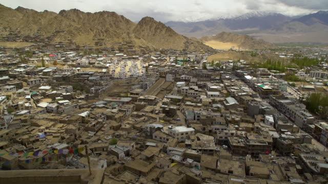 over crowded slum buildings in leh town, ladakh - jammu e kashmir video stock e b–roll