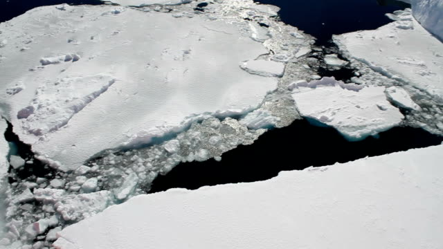 pan over crumbling ice sheets, antarctica - ice sheet stock videos & royalty-free footage
