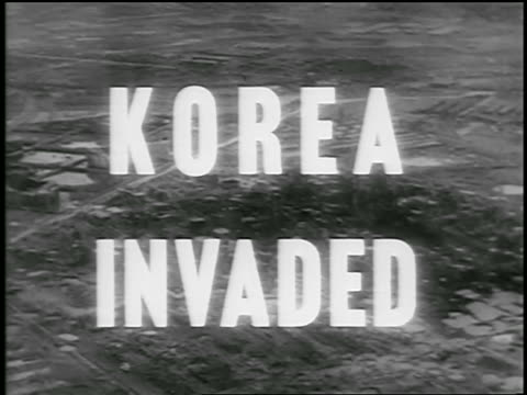 aerial over destroyed korean landscape / title superimposed / newsreel - korean war stock videos & royalty-free footage