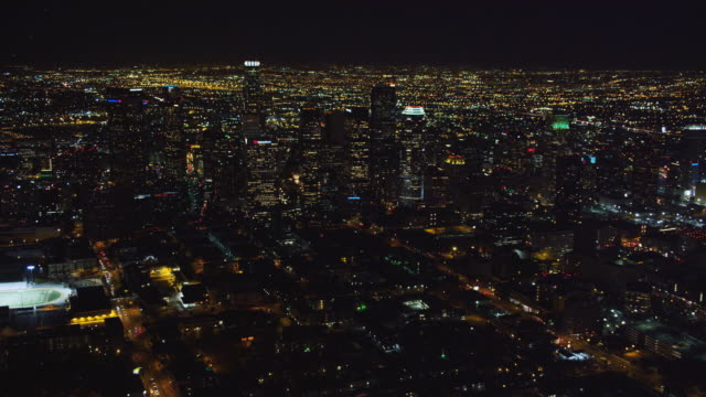 Over downtown Los Angeles at night. Shot in October 2010.