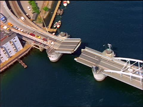 aerial over drawbridge / sonderborg, als, denmark - drawbridge stock videos and b-roll footage