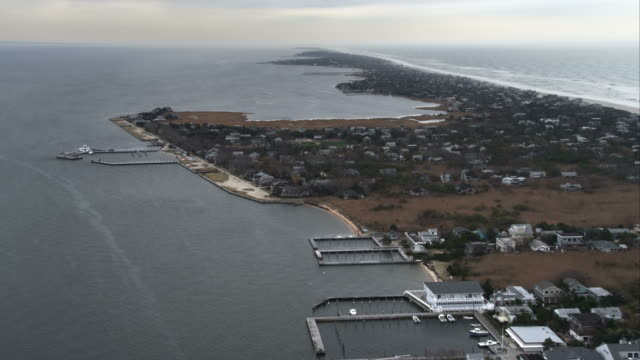 Over Fire Island communities of Kismet and Saltaire near Clam Pond cove on Great South Bay, New York. Shot in November 2011.