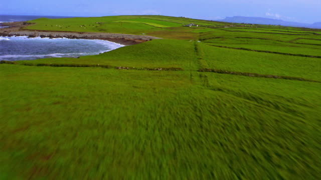 AERIAL over green farmland + beach with sea in background / Ireland