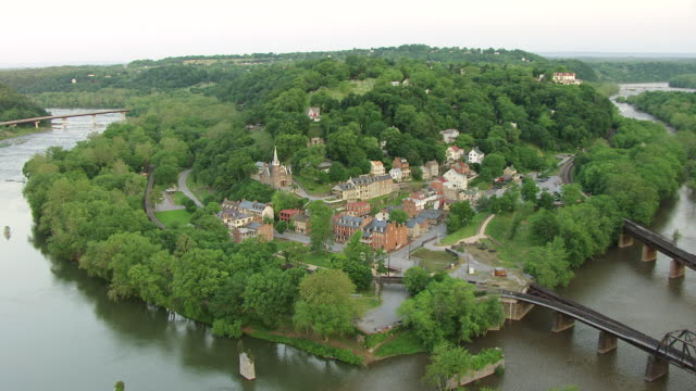 ws aerial over harpers ferry town in jefferson county / west virginia, united states - civil war stock videos and b-roll footage