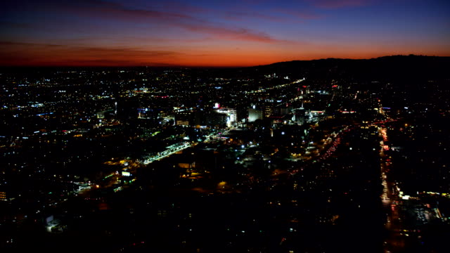 Over Hollywood at nightfall. Shot in October 2010.