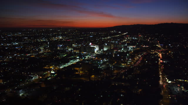 Over Hollywood at nightfall. Shot in October 2010.