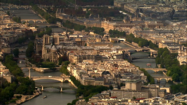 AERIAL over Ile de la Cite/ Paris, France