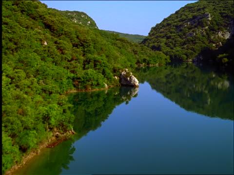 AERIAL over lake in valley / Basse Gorges du Verdon / Provence, France