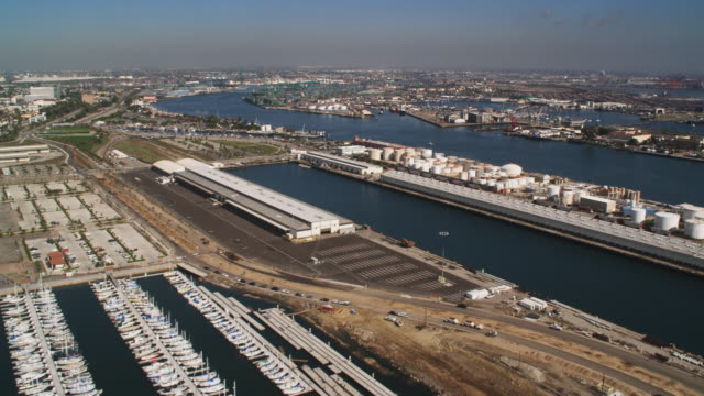 over marina and docks in los angeles harbor - artbeats 個影片檔及 b 捲影像