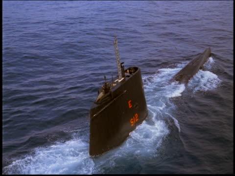 aerial over marine submarine emerging from ocean / rio de janeiro, brazil - submarine stock videos & royalty-free footage