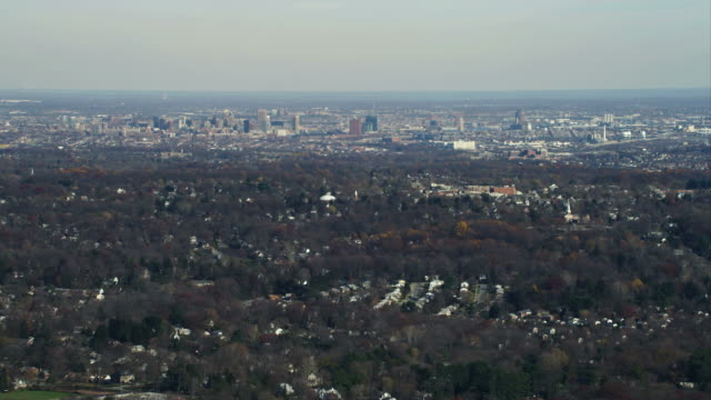 Over residential areas, approaching Baltimore, Maryland. Shot in November 2011.