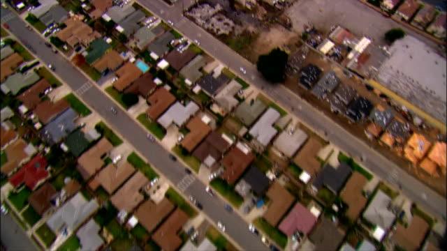 AERIAL Over residential neighborhood in Long Beach, California