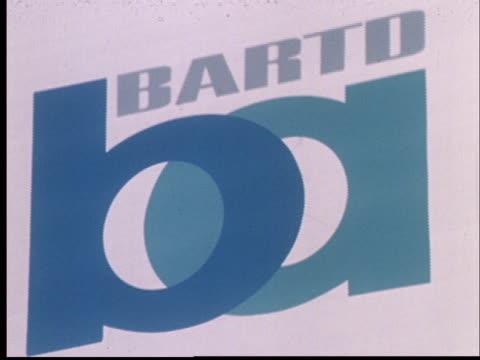 vídeos y material grabado en eventos de stock de 1968 film montage ms pan over seats inside new bart train/ cu zo bart logo/ ms pan over side of new train/ california - bart