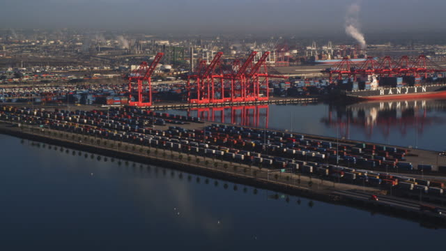 over shipping yards with loading cranes in background at port of long beach, california. shot in 2010. - artbeats stock videos & royalty-free footage