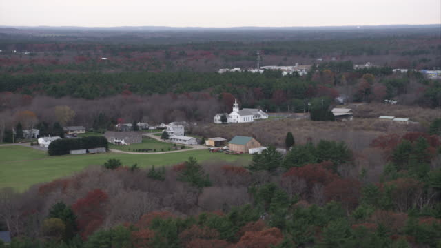 over small town and church south of norwood, massachusetts. shot in november 2011. - artbeats stock videos & royalty-free footage