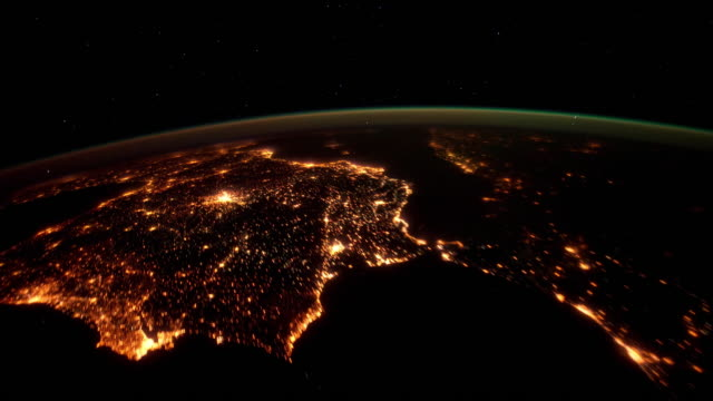 Over Spain at Night time lapse