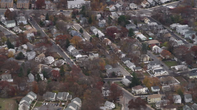 over suburban residential areas south of boston. shot in november 2011. - artbeats stock videos & royalty-free footage