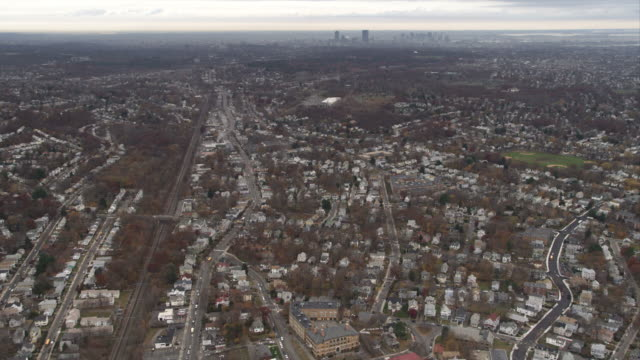 over suburbs south of boston, massachusetts. shot in november 2011. - artbeats stock videos & royalty-free footage