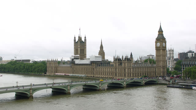 over thames river & westminster bridge to parliament & big ben, london, england; sev'l views, static and pan r-l - clock tower stock videos & royalty-free footage