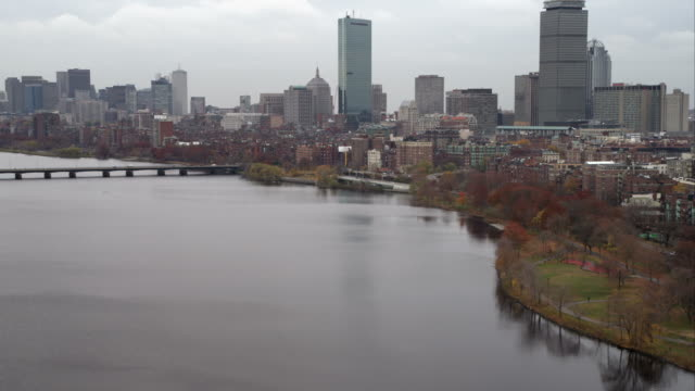 Over the Charles River, approaching downtown Boston. Shot in November 2011.