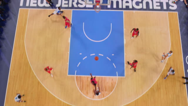 aerial basketball player in white scoring a bank shot. - non us film location stock videos & royalty-free footage