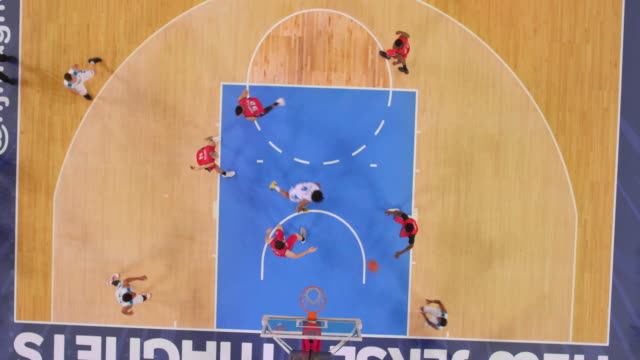 aerial basketball game. - shooting baskets stock videos & royalty-free footage