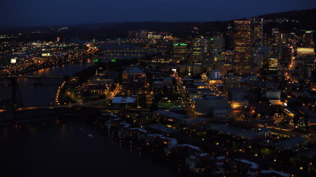 AERIAL Over the Fremont Bridge in Portland at night
