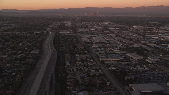 Over the outskirts of Los Angeles in evening light. Shot in October 2010.