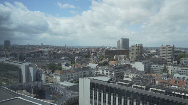 Over the rooftops of Brussels and European Parliament.