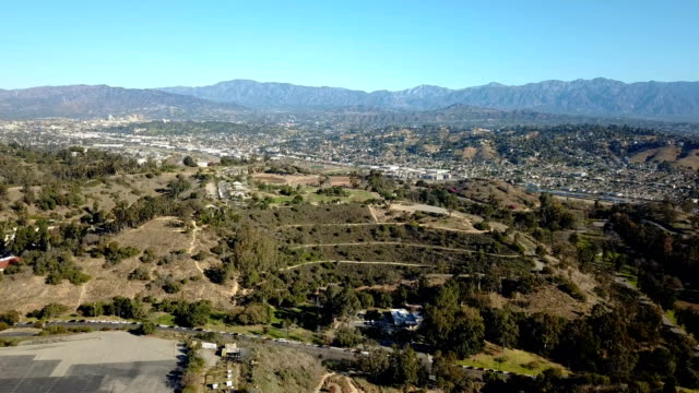 4K over the San Fernando valley with freeways