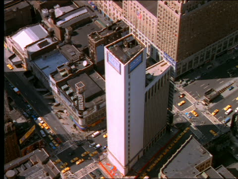 aerial over times square in new york city - cinematography stock videos & royalty-free footage