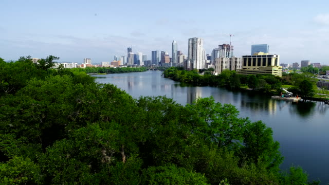 vídeos de stock e filmes b-roll de over tree tops next to colorado river at town lake in austin , texas , usa - town