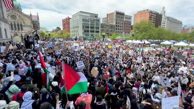 over two thousand people rally at copley square in boston, massachusetts, to support palestinians and call for an end to israeli attacks on the gaza... - judaism stock videos & royalty-free footage